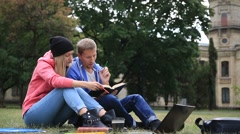 Couple of students enjoying student life Stock Footage