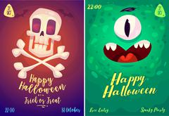 Vector set of halloween illustrations Stock Illustration