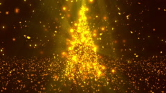 Christmas Tree Stars Gold Loopable Background Stock Footage