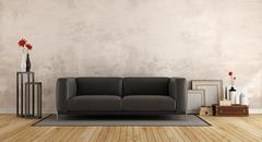 Modern sofa in a old room Stock Illustration