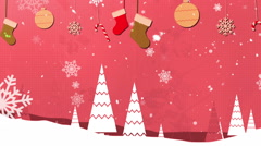 Christmas Vintage Red Loopable Background Stock Footage
