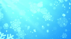 Christmas Winter Snowflakes Rays Blue Loopable Background Stock Footage