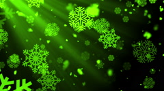 Christmas Winter Snowflakes Rays Green Loopable Background Stock Footage