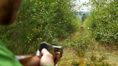 4K Target Practice, Man Shooting Wooden Russian SKS Rifle at Target Stock Footage