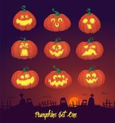 Set pumpkins for Halloween Stock Illustration