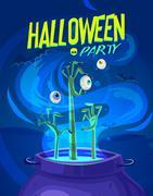 Halloween vector illustration - witch cooks poison potion in cauldron Stock Illustration
