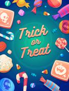 Set of colorful halloween sweets and candies icons Stock Illustration