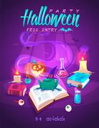Magic book with frog. Halloween cardposter. Vector illustration Stock Illustration