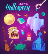 Spooky Halloween objects. Vector illustration Piirros