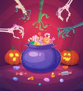 Halloween poster background card. Vector illustration Stock Illustration