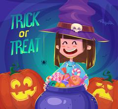 Trick or treat. Halloween poster background card. Vector illustration Stock Illustration