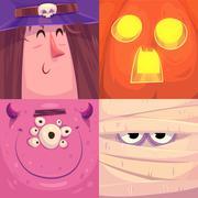 Happy halloween. Set of  Halloween characters Stock Illustration