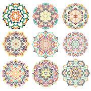 Flower Round Ornament Mandala Set Stock Illustration