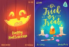 Vector set of halloween illustrations Stock Illustration