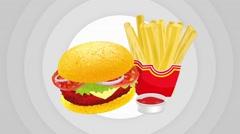 Hamburger And Fries Animation Stock Footage