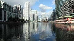 Canary Wharf. Harbour. Sunlight shining on the water. Stock Footage