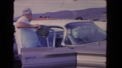 1962: the cars and people and move fast old people and joy everything is perfect Stock Footage