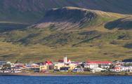 Grundarfjordur city near Kirkjufell mountain, Iceland. Stock Photos