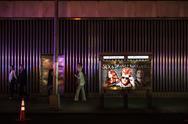Streets of Manhattan at night Stock Photos