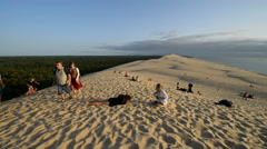 Tourists on the top of the Dune of Pylat, France, EU, Europe Stock Footage