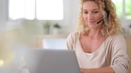Woman working from home-office, telework Stock Footage