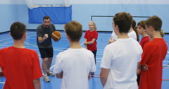 4k, School children in physical education class. Slow motion. Stock Footage