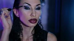 Sexy Woman gets an evening gala Makeup. Stock Footage