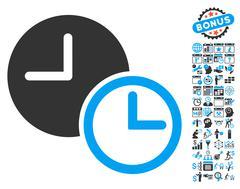 Clocks Flat Vector Icon With Bonus Stock Illustration