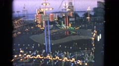 1962: park play outdoor rides huge lighting children love SAN PEDRO, CALIFORNIA Stock Footage