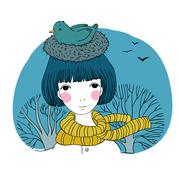 Beautiful young girl and a bird in a nest Stock Illustration
