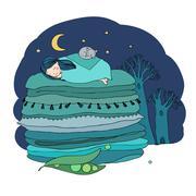 Princess on the Pea Stock Illustration