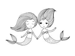Two little cartoon mermaid. Siren Stock Illustration