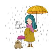 Beautiful little girl and a cute cartoon pug under an umbrella Stock Illustration