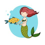 Beautiful little mermaid and fish. Siren Stock Illustration