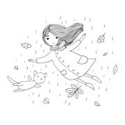 Beautiful little girl and a cute cartoon cat flying with autumn leaves Stock Illustration