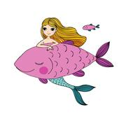 Beautiful little mermaid and big fish. Siren. Sea theme Stock Illustration