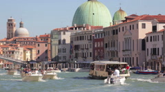 Venice, Italy,  Boats passing Stock Footage