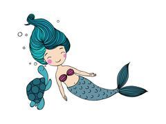 Beautiful little mermaid and the tortoise Stock Illustration