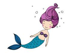 Beautiful little mermaid Stock Illustration