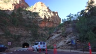 Zion National Park, long tunnel enterance with motorhome Stock Footage