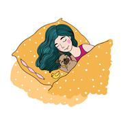 Sleeping beautiful young girl and a cute pug Stock Illustration
