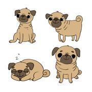 Cute Pugs. Dogs Stock Illustration