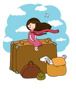 Little girl and big bags Stock Illustration