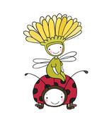 Flower fairy and a ladybug Stock Illustration