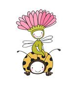 Flower fairy and a ladybug Piirros