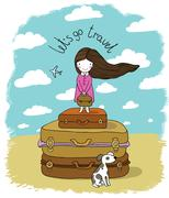 Beautiful little girl on the suitcase Stock Illustration