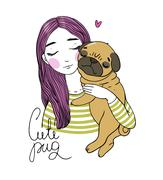Beautiful young girl and a cute pug Stock Illustration