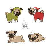 Cute Pugs. Pet clothes Stock Illustration