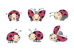 Set of ladybugs Stock Illustration