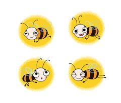 Set with cute cartoon bees Stock Illustration
